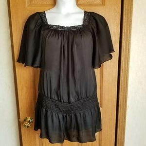 Torrid Silky Black Lace yoke drop waist blouse